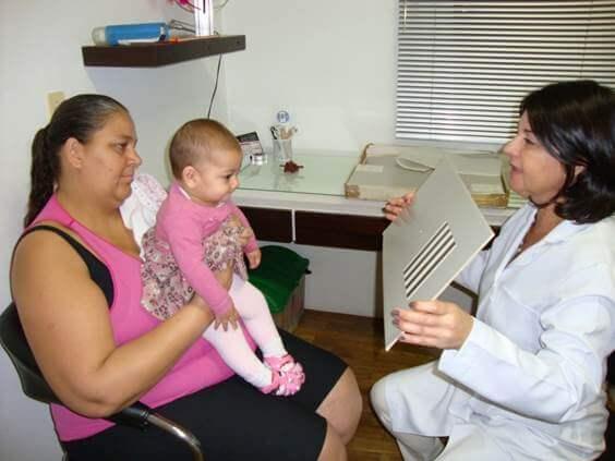 Imagem de um bebê com baixa visão no colo de sua mãe e a sua frente a ortoptista com uma tabela para avaliação da sua acuidade visual de pré-verbais.